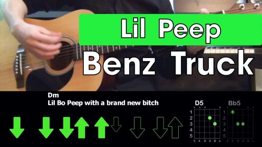 Lil Peep - Benz Truck  Разбор песни на гитаре  Аккорды и бой Видео