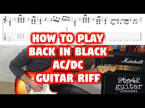 How to Play ACDC Back in Black Main Riff Guitar Tutorial TAB Видео