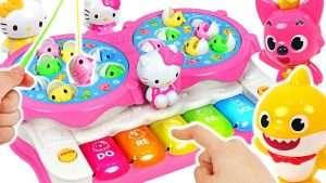 Hello Kitty Piano Fishing Play! Baby shark vs Pinkfong Fishing Game! #PinkyPopTOY Видео
